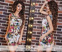 """Летнее женское короткое платье 018 """"Лён Цветы Кармашки"""" в расцветках"""
