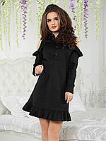 Платье с рубашечным воротником Кларис черное