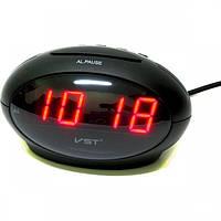 Часы электронные VST-711-1 настольные часы с будильником от сети с красной подсветкой