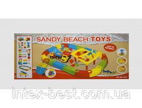 Песочница с песочным набором, столом и машинками M 2155, фото 2