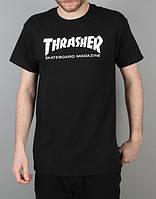 Футболка Thrasher черная с белым логотипом,унисекс (мужская,женская,детская)