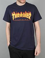 Футболка Thrasher синяя с огненным логотипом,унисекс (мужская,женская,детская)