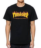 Футболка Thrasher черная с огненным логотипом,унисекс (мужская,женская,детская)