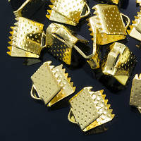 Концевики Зажимы для Лент, Железные, Цвет: Золото, Размер: 8х5х5мм, Отверстие 2мм, (УТ000004267)