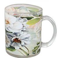 Чашка стеклянная 325 мл с рисунком Цветущая Яблоня 930