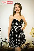 Платье в горошек с пышной юбкой и корсетом 3030
