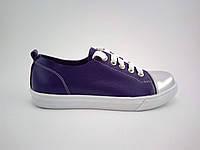 Бесподкладочные фиолетовые  кеды с серебристым носком