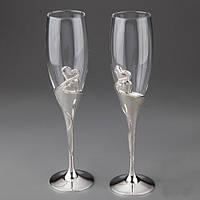 """Оригинальные свадебные бокалы  для шампанского """"Два Сердца"""""""