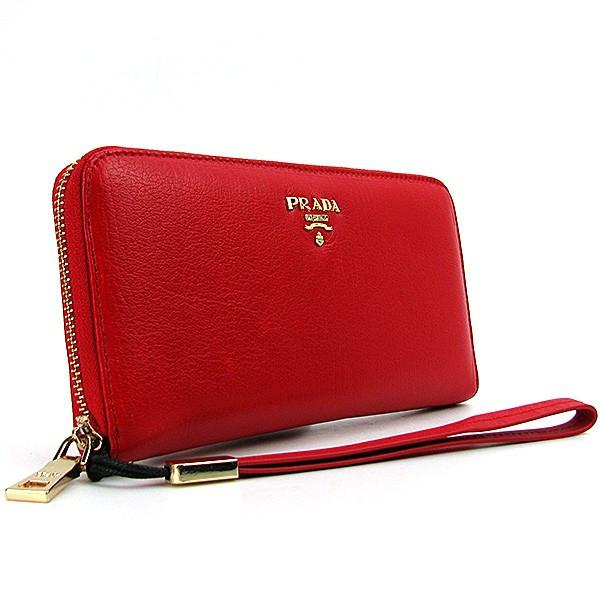 6172f83bb12d Кошелек женский Prada красный кожаный на молнии: продажа, цена в ...