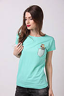 Бирюзовая женская футболка с собачкой