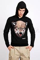Мужская кофта  с капюшоном черная Волк 1