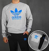 Спортивный костюм Adidas Originals серый верх черный низ с синим логотипом