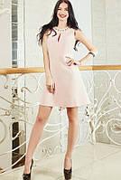 Коктейльное молодежное платье цвета пудра с камнями