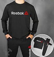 Спортивный костюм Рибок черного цвета с бело-красным логотипом на груди, фото 1
