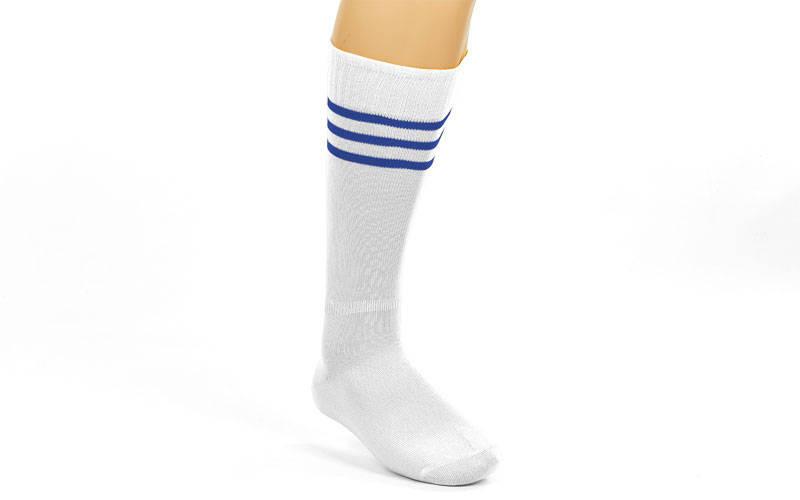 Гетры футбольные взрослые белые с синей полосой CO-120-W