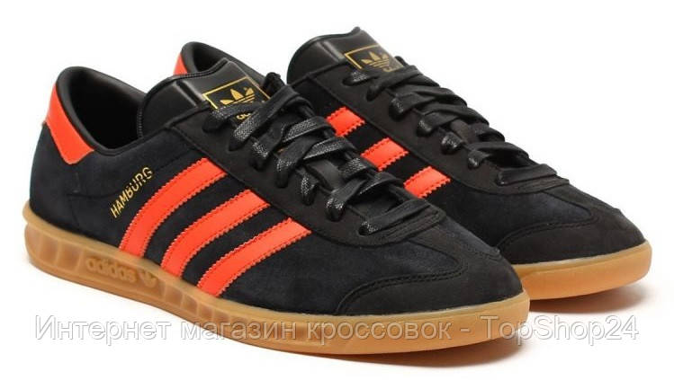 Кроссовки Adidas Hamburg (Core Black/Collegiate Orange)