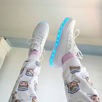 Женские белые светящиеся LED - кроссовки 41размер, фото 1