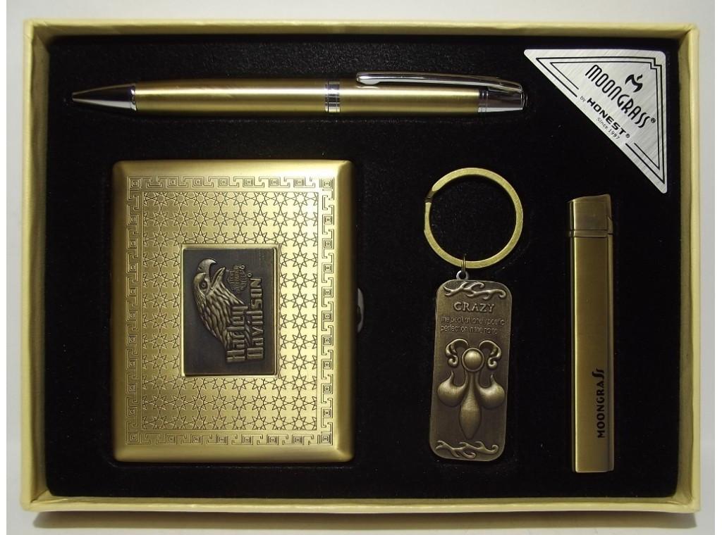 Подарочный набор MOONGRASS: ручка + брелок + зажигалка + портсигар
