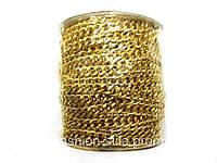 Цепочка с гранями, цвет золото, 20м в рулоне