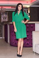 Стильное зеленое женское платье из трикотаж-дайвинг