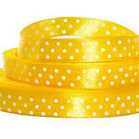 Лента атласная в горошек 1 см желтая