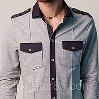 Модная трикотажная мужская рубашка с длинным рукавом