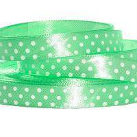 Лента атласная в горошек 1 см светло-зеленая