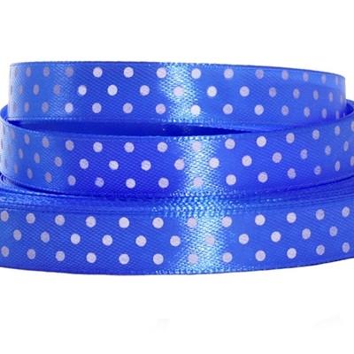 Лента атласная в горошек 1 см синяя