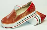 Слипоны для девочки из натуральной кожи, детская и подростковая обувь от производителя модель ДЖ-111