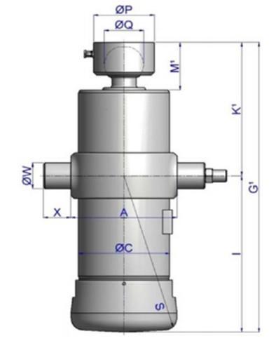Гидроцилиндр 5-ти штоковый, подкузовной для трехсторонней разгрузки Hyva (UМB 129-5-2480-K192)