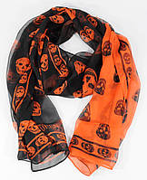 Шифоновый шарф Alexander McQueen черно-оранжевый, фото 1