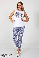 Стильные летние брюки для беременных Dioni, белые пейсли на синем