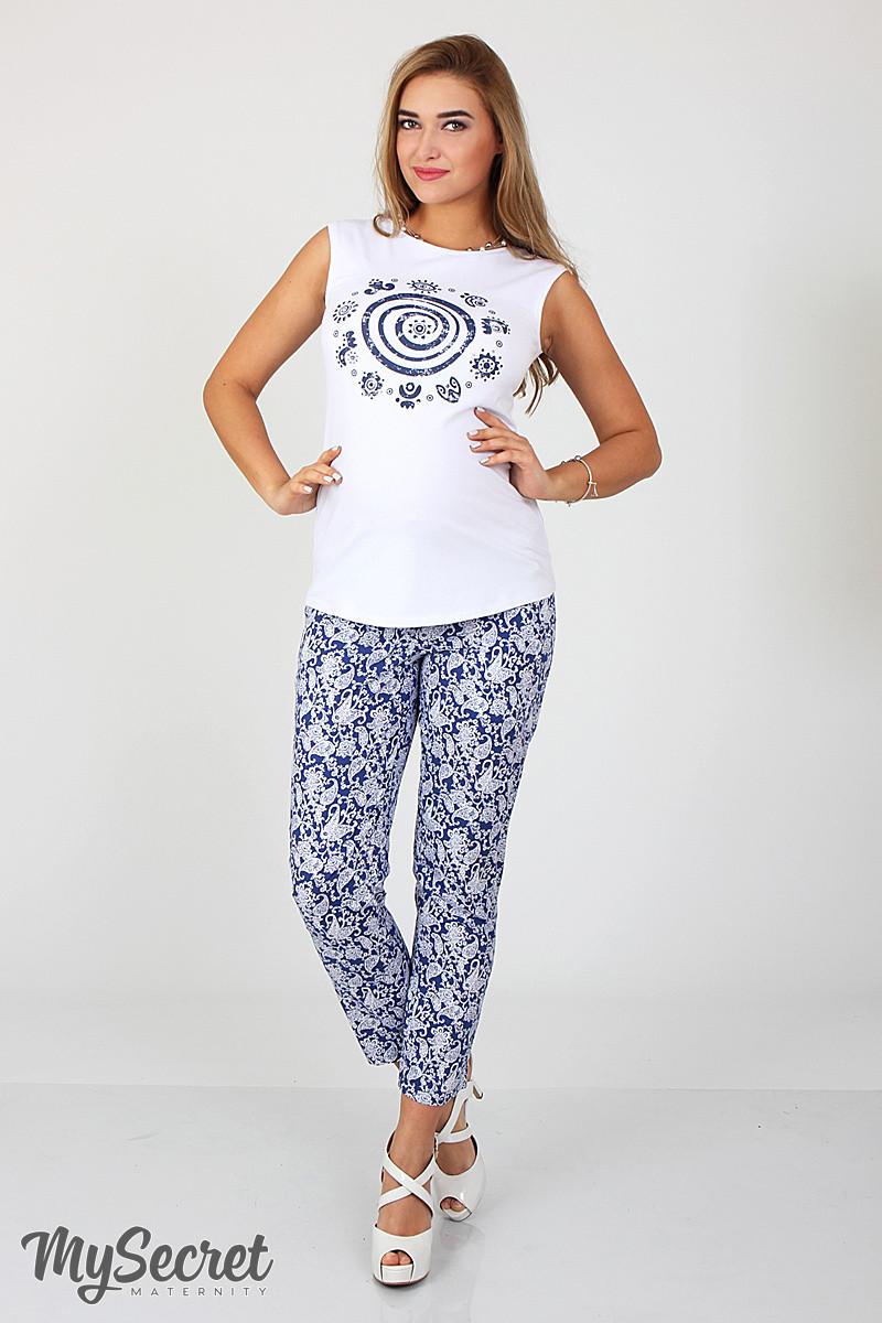 Стильные летние брюки для беременных Dioni, белые пейсли на синем, фото 1 fe0e938c949
