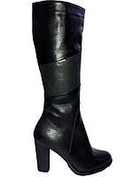 Кожаные женские зимние черные классические сапоги на каблуке Korzeniowski