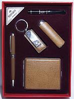 Подарочный набор: зажигалка + ручка + брелок + мундштук + портсигар