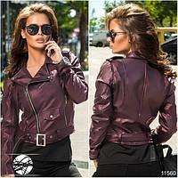 Женская короткая куртка-косуха сливового цвета на молнии. Модель 11560.