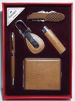 Подарунковий набір: запальничка + ручка + брелок + ніж + портсигар.