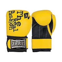 Перчатки боксерские Excalibur 520 Passion 1.0 (14 oz) желтый/черный