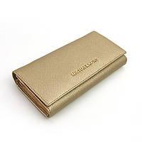 Кожаный золотистый кошелек Michael Kors на кнопке
