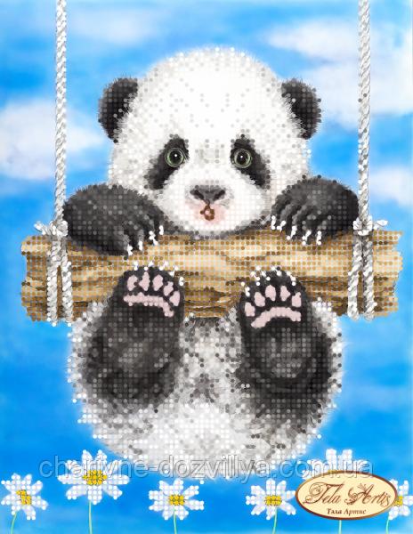 """Схема для вишивання бісером на атласі """"Ромашкова панда"""""""