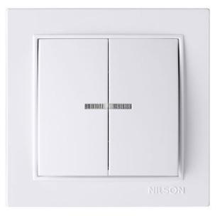 NILSON THOR Выключатель двухклавишный с подсветкой белый