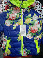 Легкая короткая весеняя курточка на девочку с цветочным принтом