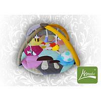 """Симпатичный игровой коврик """"Грибочек"""" с дугами и подвесными игрушками для малыша (140х90 см) ТМ Хомфорт"""