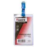 """Бейдж """"Axent""""  ( 11,7*6,4см) вертикальный, прозрачный с клипом 4505"""