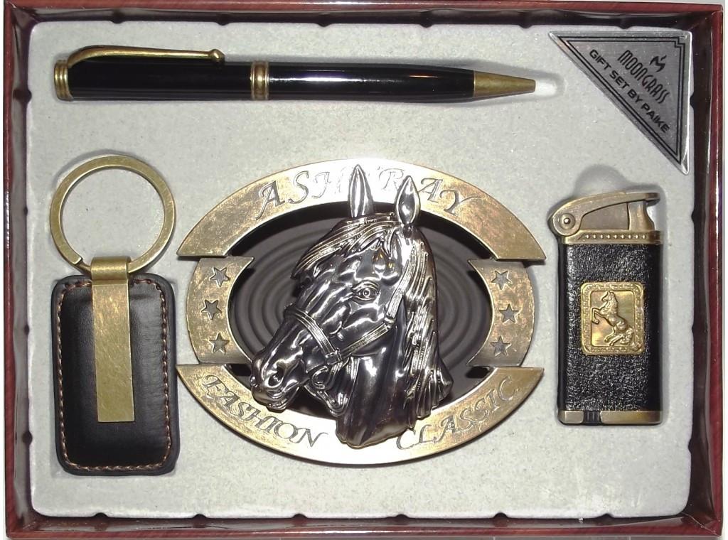 Подарочный набор MOONGRASS: зажигалка + ручка + брелок + пепельница