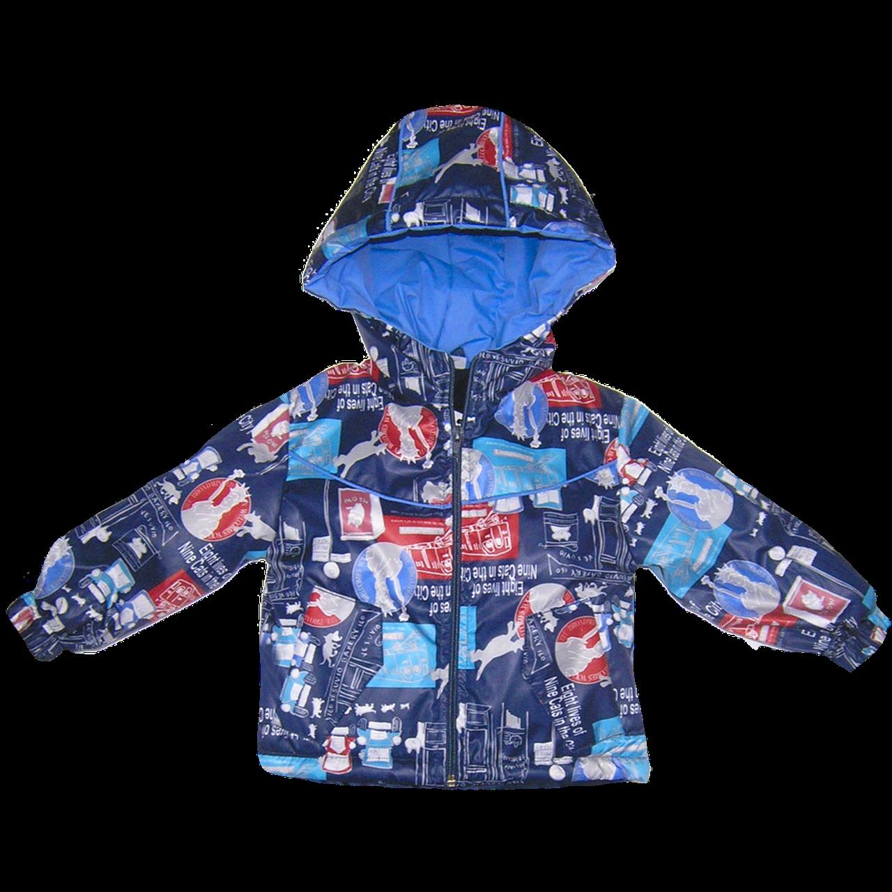 Детская куртка р. 98 весна осень длямальчика на молнии с капюшоном, на флисе и холлофайбере