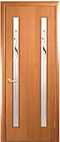 Дверь КВАДРА ВЕРА экошпон, венге 3D, дуб жемчужный, кедр, сандал, ясень патина (стекло сатин рис. Р1)