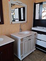 Тумба с раковиной и зеркало (комплект) белый с золотой патиной 85 см