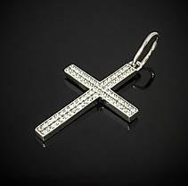 Срібний хрестик з різнокольоровими фіанітами, фото 3