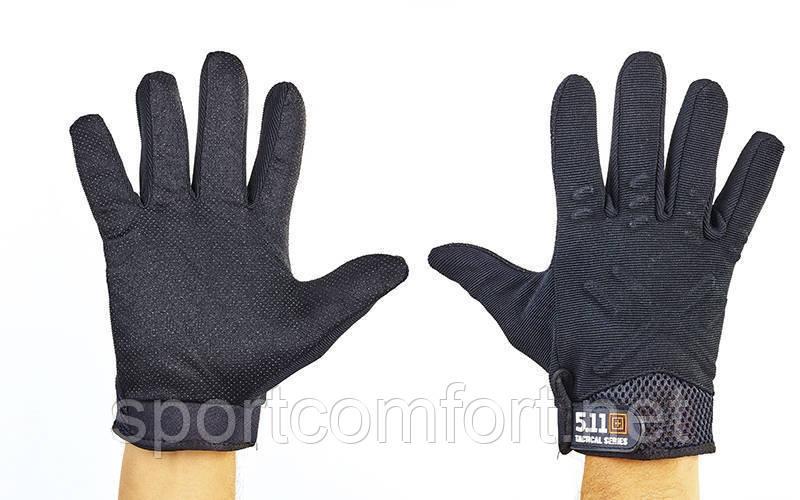 Перчатки тактические закрытые полиэстер черный